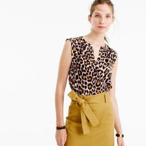 J. Crew Silk Cuffed-Sleeve Top in Leopard Print 10